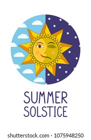 Summer solstice. Smiling sun and sleeping moon in the circle of day and night sky on white background. Vector illustration.
