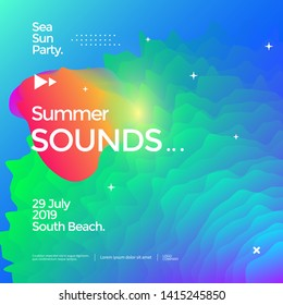 Summer sounds electronic music fest poster design. Fluid color banner. Dynamic gradients waves background.