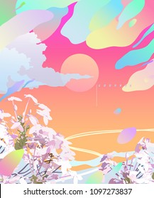 Summer space, abstract modern retro sweet pastel background