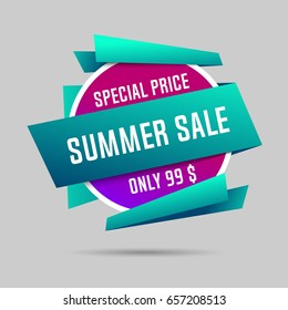 Summer specials sale banner, summer special offer, big sale. Vector illustration.