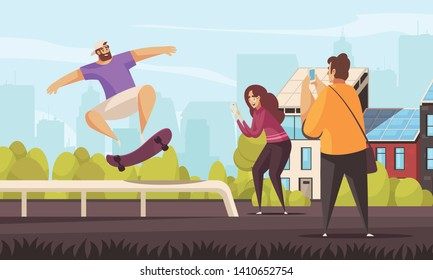 Summer sport skateboard composition with outdoor cityscape background and doodle style stunting skateboarder character with people vector illustration