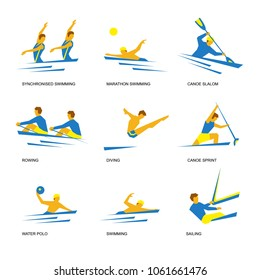 Summer sports icon set (1 of 6). Nine isolated silhouettes of athletes in blue and yellow. Different kinds of water games  - swimming, rowing, canoe slalom and sprint, water polo, diving.