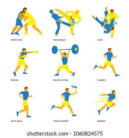 Summer sports icon set (2 of 6). Nine isolated silhouettes of athletes in blue and yellow. Different kinds of fighting and  track and field competitions - judo, taekwondo, wrestling, boxing, running.