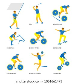 Summer sports icon set (3 of 6). Nine isolated silhouettes of athletes in blue and yellow. Different kinds of competitions - volleyball, golf, equestrian, cycling and skateboarding.
