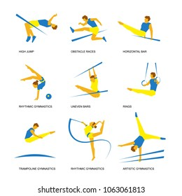 Summer sports icon set (4 of 6). Nine isolated silhouettes of athletes in blue and yellow. Different kinds of gymnastics - artistic, rhythmic, trampoline, uneven and horizontal bars, rings, high jump.