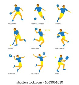 Summer sports icon set (5 of 6). Nine isolated silhouettes of athletes in blue and yellow. Different kinds of games with a ball - soccer (football), volleyball, tennis, handball, basketball, rugby.