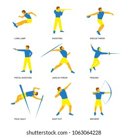Summer sports icon set (6 of 6). Nine isolated silhouettes of athletes in blue and yellow. Different kinds of competitions - shooting, archery, fencing, jumping, javelin and discus throw, shot put.