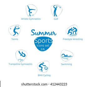 Summer sports icons set, 2 of 6, vector illustration, template for web, print