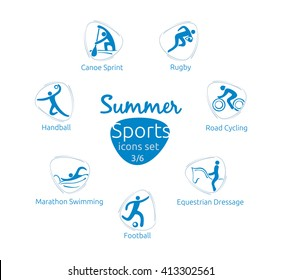 Summer sports icons set, 3 of 6, vector illustration, template for web, print