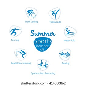 Summer sports icons set, 4 of 6, vector illustration, template for web, print