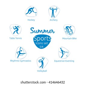 Summer sports icons set, 5 of 6, vector illustration, template for web, print
