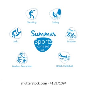 Summer sports icons set, 6 of 6, vector illustration, template for web, print. Olympic events pictograms.