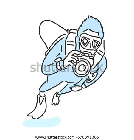 summer sports scuba diving variety poses stock vector royalty free