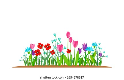Summer and spring blossom forest and garden flowers field isolated on white background. Nature springtime flower. Vector illustration