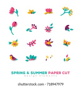 Summer and spring cute paper cut design elements. Vector illustration. Floral natural shapes, flowers, berries and leaves. Pink tulips, sparrow bird and butterfly.