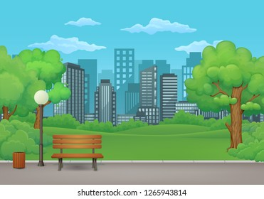 Summer, spring day park vector illustration. Wooden bench, trash bin and street lamp on an asphalt park trail with lush green trees, bushes and cityscape with skyscrapers in the background.