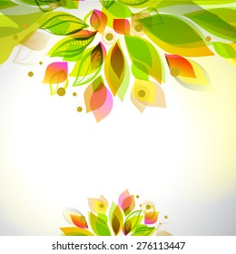 Summer and spring floral decorative element. Border with leaves. Abstract decorative frame. Season design template.