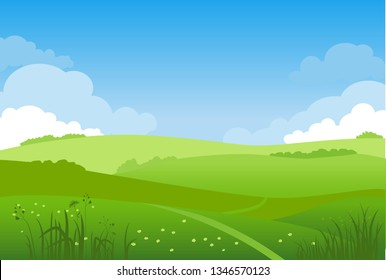 Summer or spring landscape for design banner, ticket, leaflet, card, poster and so on. Green grass, blue sky not urban scenery.