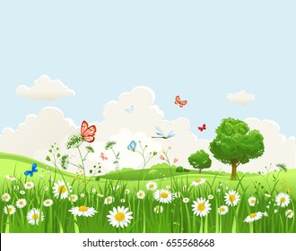 Summer or spring landscape for design banner, ticket, leaflet, card, poster and so on. Green grass and flowers scenery.