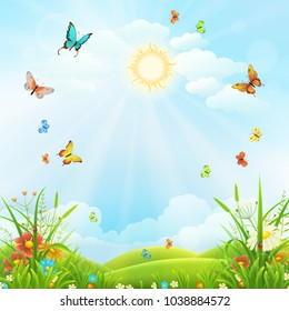 Summer or spring landscape with green grass, flowers and butterflies scenery