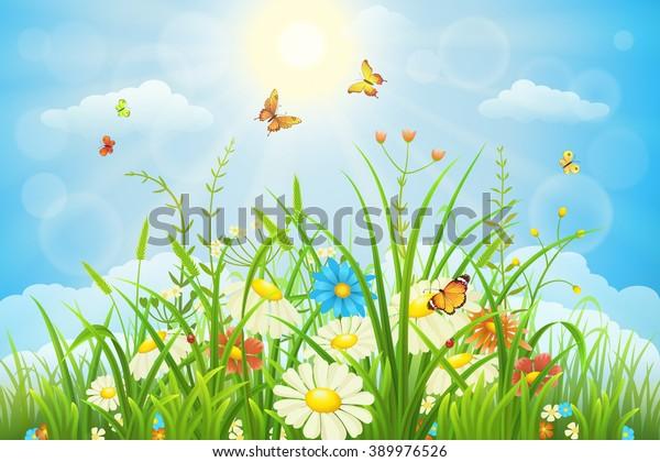 Spring Meadow Clip Art