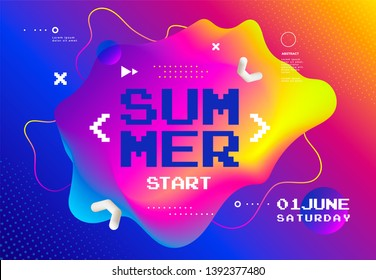 Summer start fest poster. Cover for Digital or cyber game festival. Abstract vibrant gradients background with fluid shape.