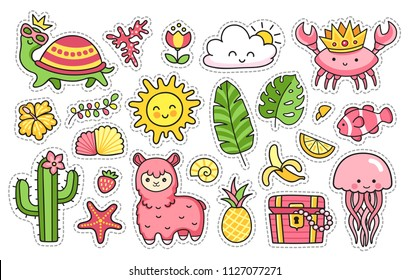 Summer stickers. Turtle, llama, cactus, crab,  pineapple, fish, sun, jellyfish, palm leaves, tropical flower. Set of cartoon patches, badges, pins, prints for kids. Doodle style. Vector illustration.