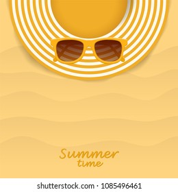 Summer striped hat and yellow sunglasses. Woman beach sunhat on sand. Top view. Summer concept. Vector illustration