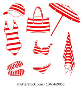 Summer striped set in red color. Vector isolated illustration.