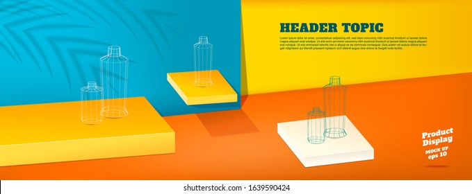 Summer studio table with product display block background.vivid yellow orange and blue with palm leaf shadow and hard light room for display of product.mockup banner for advertising online
