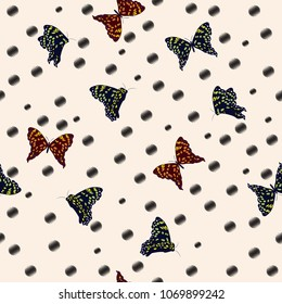 Summer stylish flying butterflies seamless pattern vector on hand drawn black polka dots sketch with wind blowing flowers on light beige background