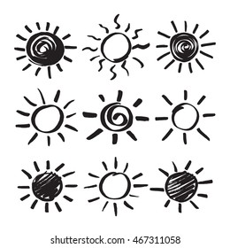 Summer sun design elements. Set of sunshine silhouette symbols hand drawn by black marker. Felt pen scribble solar rays isolated on white. Vector eps8 illustration.