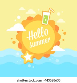 Summer sun flat card with holiday vacation icons on a blue sky background