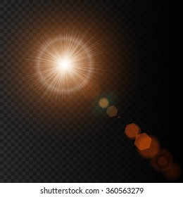 Summer sun lens flare with realistic light, lens flare lights and lens flare glow on black background, star lens flares. Vector illustration eps10
