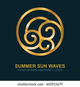 Summer, sun, sea and waves.  Abstract logo and icon gold design template.