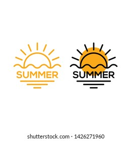 Summer with sun and wave. Vector logo icon template