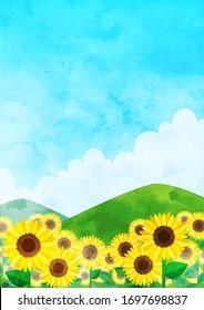 Summer sunflower field greeting card