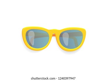 Summer sunglasses, isolated icon vector. Fashionable glasses with yellow frame protecting eyes from sunlight. Stylish accessory, sunshades design