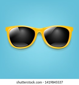 Summer Sunglasses With Mint Poster With Gradient Mesh, Vector Illustration