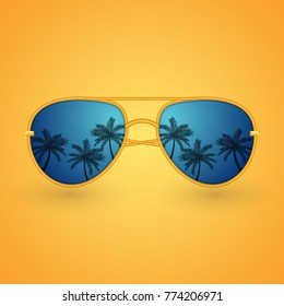 Summer sunglasses with palms