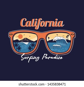 Summer sunglasses reflective ocean wave sea beach surfing paradise view palm sunset mountain California. Vintage fashion illustration surfing vacation style clothes print design t shirt sticker badge