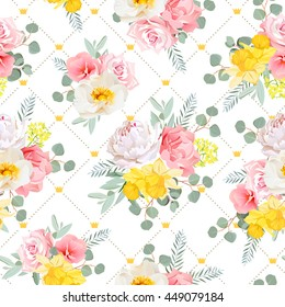 Summer sunny floral seamless vector pattern. Peony, wild rose, narcissus, carnation, pink and yellow flowers. Simple dotted backdrop with diagonal lines and small princess crowns.