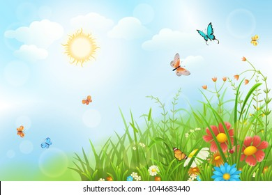 Summer sunny meadow with green grass, flowers and butterflies