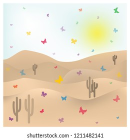 Summer sunny sultry landscape. Flying butterflies on the background of sand dunes. Hot desert. Colorful butterflies