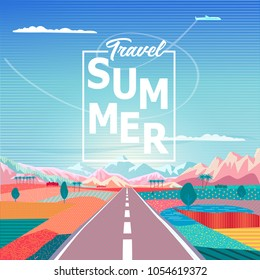 Summer sunrise painting poster on the theme of Road trip to mountains, blue sky, airplane, tropical palm, rural landscape, Travel, Voyage, Camping, outdoor recreation, adventures in nature, vacation