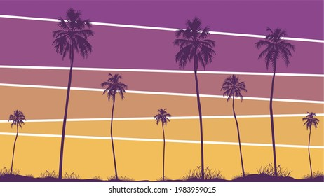 Summer sunset beach. Palm tree silhouette. California beach vector. Design of social media banners, posters, emails, newsletters, advertisements, leaflet, placard, brochure, wallpaper, t-shirt, flyer.