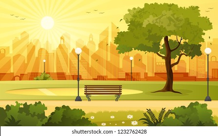 Summer sunset city park panorama in the evening vector illustration.