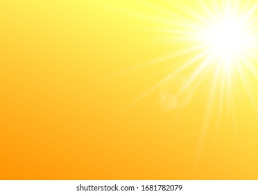 Summer sunshine glowing and bright abstract background template, realistic vector illustration. Sun rays and beams radiant effect on yellow backdrop layout.