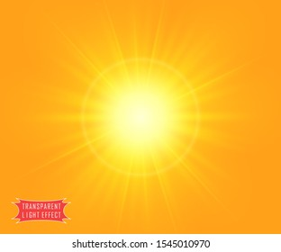 Summer sunshine yellow background with a soft transparent rays of the sun or the flash of a star. Vector illustration.