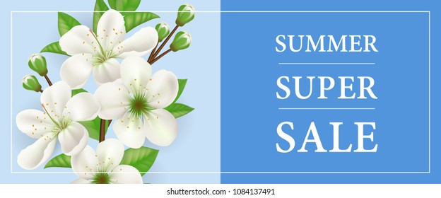 Summer super sale banner design with white blooming apple tree twig on blue background. Typed text in frame can be used for flyers, signs, poster.